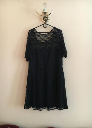 Батал большой размер чёрное кружевное платье платьице плаття сукня нарядное