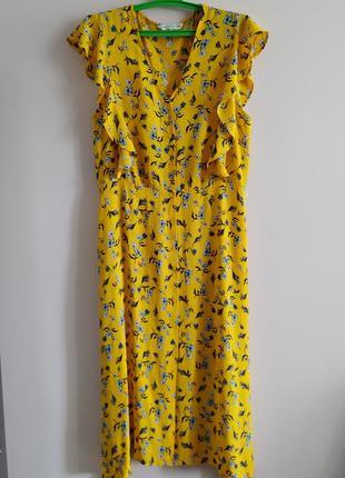 Яркое летние платье миди на пуговицах цветочный принт.