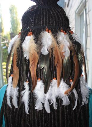 Хайратник повязка на волосы с перьями в стиле хиппи, бохо разные цвета!