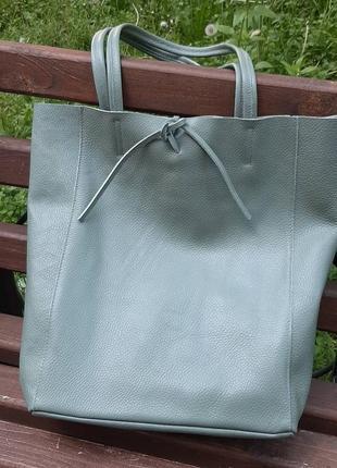 Сумка шоппер кожаная белая пудра италия голубая зеленая лимон7 фото