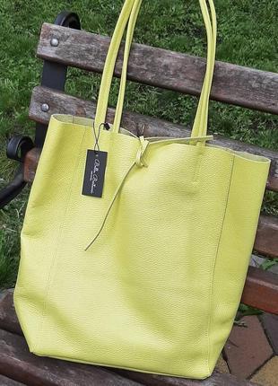 Сумка шоппер кожаная белая пудра италия голубая зеленая лимон4 фото