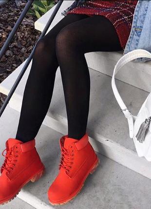 Ботинки красные из нубука timberland
