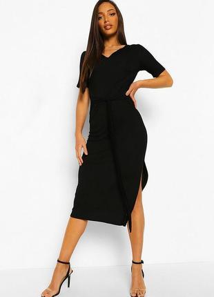 💣повседневное вискозное длинное платье-футболка миди с разрезом boohoo