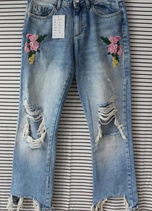Джинсы zara с вышивкой, летние джинсы  ( плаццо, оверсайз, батал, джинсы в стиле mango, h&m, lee, bershka, crop)
