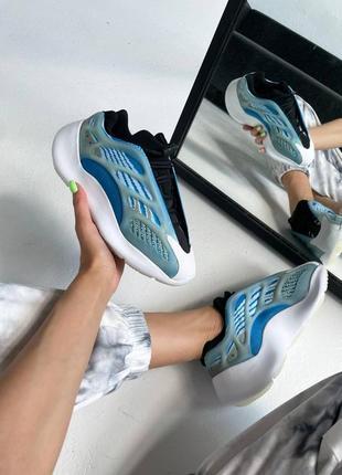 Женские демисезонные кроссовки adidas yeezy boost 700 v3💥голубые, весна осень лето
