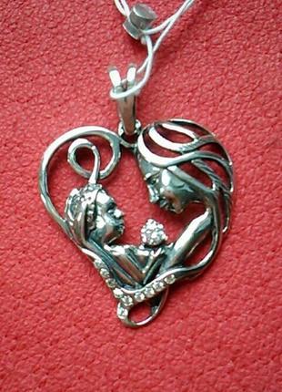 Трогательный кулон-сердце из серебра