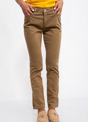 Женские повседневные штаны брюки коричневые горчичные с карманами прямые с размерами модные удобные