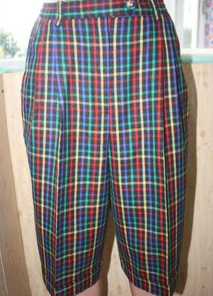 Шикарные винтажные шерстяные шорты бермуды в яркую клетку