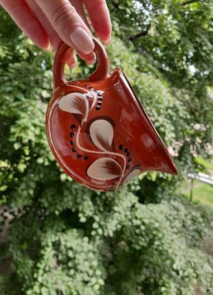 Сливочник соусник керамический советский винтаж ручная роспись крынка