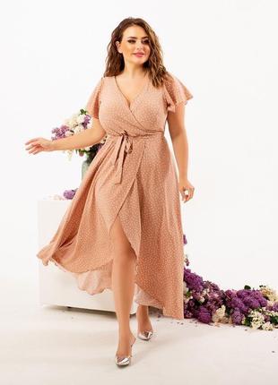 Платье в горошек, платье в мелкий горох, платье на запах1 фото