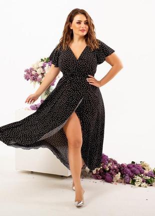 Платье в горошек, платье в мелкий горох, платье на запах2 фото