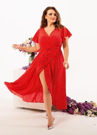 Платье в горошек, платье в мелкий горох, платье на запах3 фото