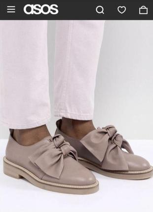 Asos кожаные розовые туфли с бантиками
