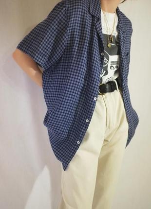 Льняная рубашка в клетку с мужского плеча британского бренда
