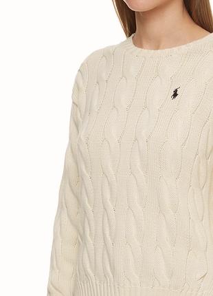 Хлопковый свитер polo ralph lauren молочного цвета