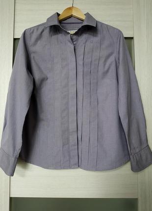Рубашка хлопок с длинным рукавом сиреневая marks & spencer