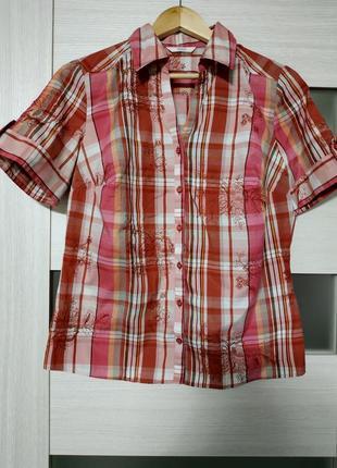 Рубашка с коротким рукавом в клетку с вышивкой marks & spencer
