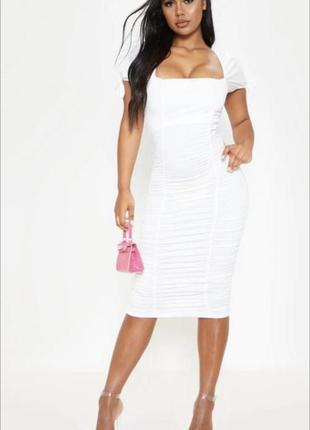 Платье миди квадратный вырез платье пышный рукав . платье в обтяжку