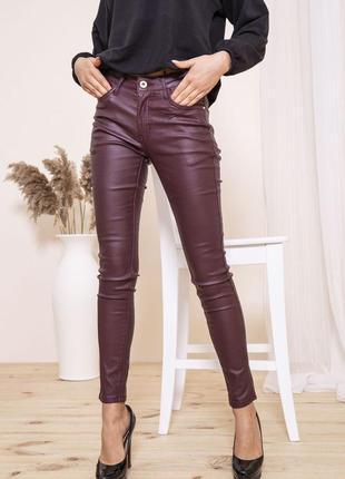 Женские повседневные штаны леггинсы бордовые с карманами на высокой посадке модные в обтяжку скинни из экокожи экокожа