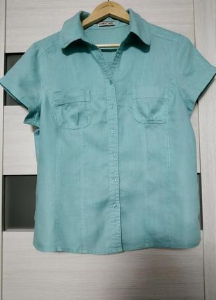 Рубашка с коротким рукавом 100% лен изумруд бирюзовая