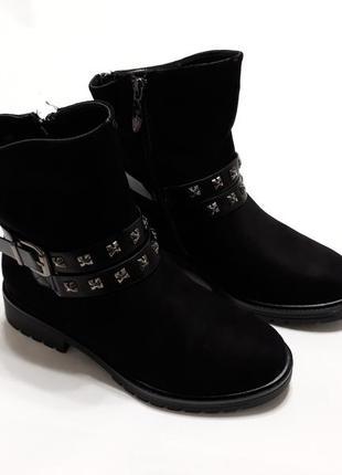 Женские зимние ботинки (полусапоги), материал эко-замша