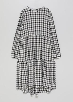 Стильное платье миди lefties из жатой ткани в клеточку.
