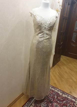 Платье рыбка вечернее выпускное свадебное в пайетках с корсетом