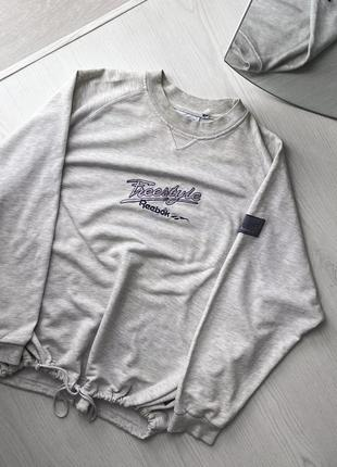 Трендовый базовый оверсайз свитшот кофта худи серый reebok винтаж