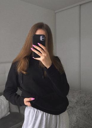 Трендовый базовый оверсайз худи свитшот кофта чёрная с капюшоном