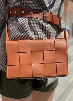 Трендовая современная плетённая женская сумка натуральная кожа италия