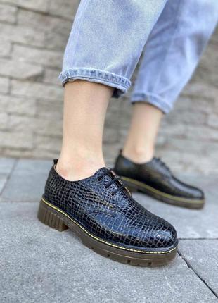 Кожаные закрытые туфли оксфорды на шнурках