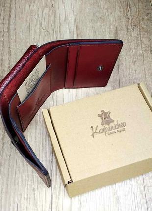 Отличный кожаный кошелек трифолд ручной работы