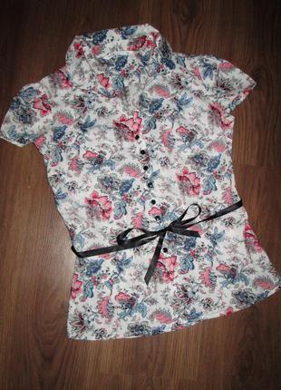 Блузка на пуговицах с атласным поясом, xs-s