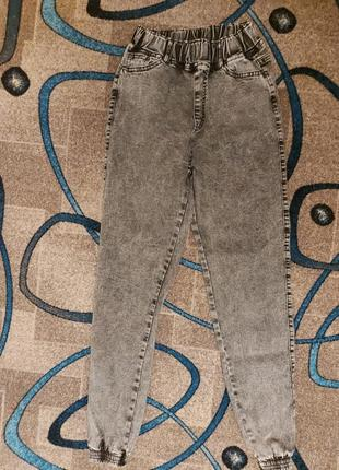 Джинсы на резинке женские джоггеры (свободные) серый графит турция