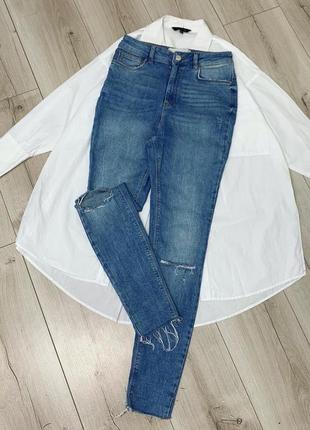 Голубые джинсы only высокая посадка