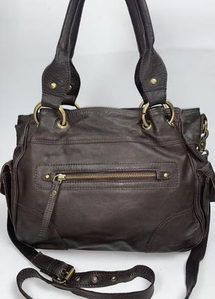 Индия! отличная кожаная фирменная обьемная практичная сумочка на/ в руку, на/ через плечо asos.