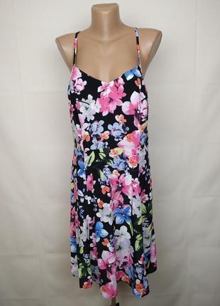 Платье новое натуральное в цветочный принт f&f uk 12/40/m