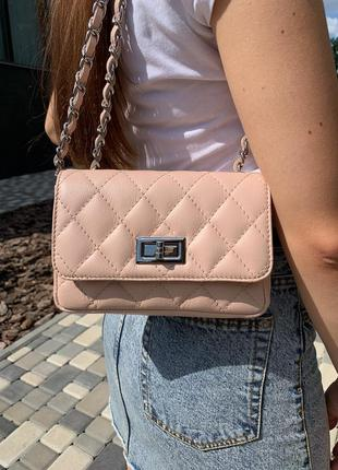 Женская сумка натуральная кожа италия клатч пудра