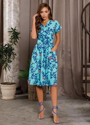 Мятное коттоновое платье на запах