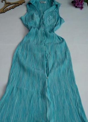Голубое длинное платье 46 размер жатка сарафан  нарядное повседневное  летнее bonmarche