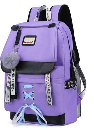 Стильный школьный рюкзак для девочки с usb-портом