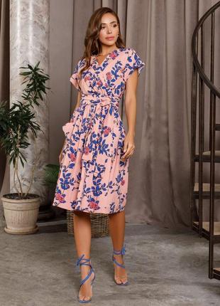 Розовое коттоновое платье на запах