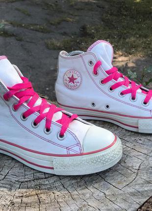 Кеды converse all star кожаные высокие белые с розовым женские детские