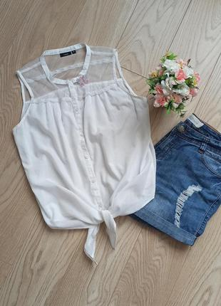 Укороченная белая футболка с завязками, р.s