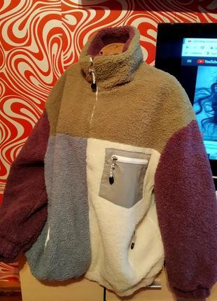 Трендовая батальная куртка/еко шубка тедди, оверсайз,стильная,удлиненная, актуальная