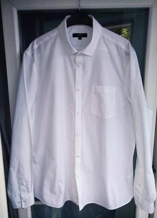"""Рубашка """"george"""" slim fit р.xxl р.43(17) мужская белая зауженная"""