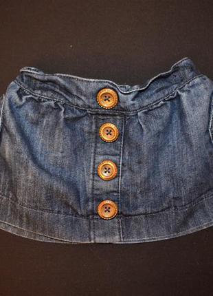 Стильная джинсовая юбочка для девочки 6-9 мес от next