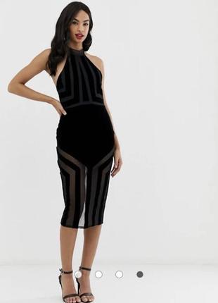Облегающее платье миди с сетчатыми вставками asos design