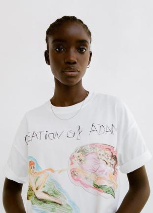 "Zara футболка с принтом в стиле микеланжело ""создание адама"" s"