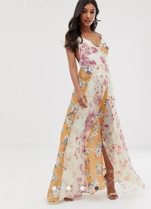 Платье макси цветочный принт с кружевом asos